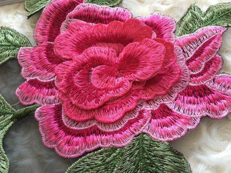 Yüksek Kalite 3D Şakayık Çiçek Elbise Aplike Siyah Organze - Sanat, el sanatları ve dikiş - Fotoğraf 4