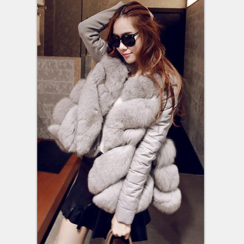 New Faux Fur Womens Jackets Coats Winter Jacket Fur Pu stitching imitation fox hair Korean Edition fur coat A coat detachable