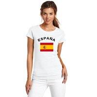 Gildan SPAIN National Flag Printed European Cup Fans Cheer Women T Shirt Round Neck Short Sleeve