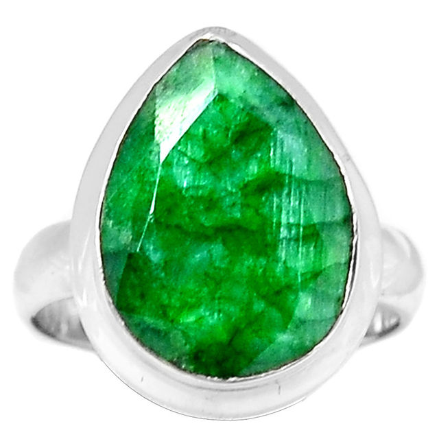 Hand Made Emerald Ring 100 925 Sterling Silver Size 7 5 AAR062