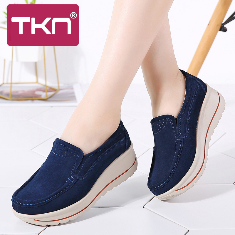 2019 Spring Women Platform Flats Shoes Ladies   Leather     Suede   Slip on Shoes Chaussure Femme Creepers Moccasins Shoes Woman 3507