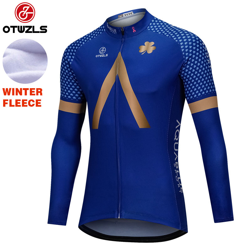 Aqua Blue Sport 2018 Cycling Jersey Long Sleeve Winter Thermal Fleece Mountain Bike Jersey Wear Cycling Clothing Ropa Ciclismo wosawe 2017 winter men women thermal cycling base layer compression mountain bike warmer underwear long sleeve cycling jersey page 1