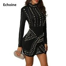Womens Beading Sexy Bodycon Mini Dress Long Sleeve Elegant Party Dresses Autumn Vestidos Clubwear Club Outfit Streetwear