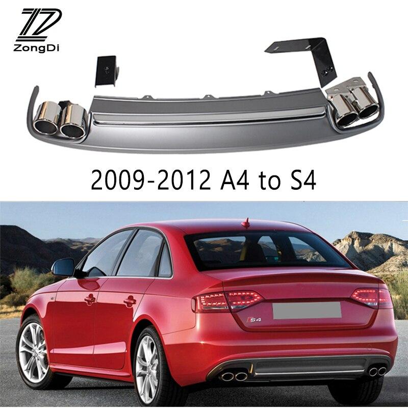 1 Set S4 style embouts d'échappement de voiture tuyau de silencieux avec diffuseur de pare-chocs arrière pour Audi A4 B8 B9 accessoires 2009-2012 2013 2014 2015