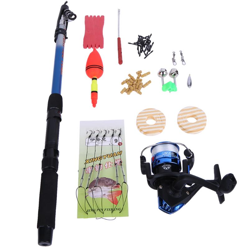 53Pcs Telescopic Fishing Rod Spinning Reel Combo Reel Complete Kit Pot Set Fishing Tackle Fishing Rod Fishing Entry-level Set