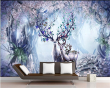 beibehang Custom Nordic Vintage Elk TV Sofa Background Wall Painting Photo Wallpaper 3D wallpaper for walls 3 d papel de parede nordic minimal elk flying birds forest custom wallpaper living room tv backdrop sofa wall bedroom murals papel de parede