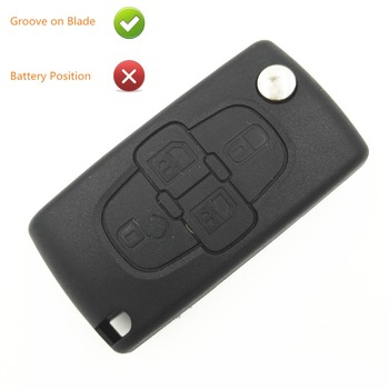 4 Buttons Replacement Folding Key Shell Blank With Groove on Blade No Battery Place For Peugeot 207 307 407 1007 Key Shell Fob image