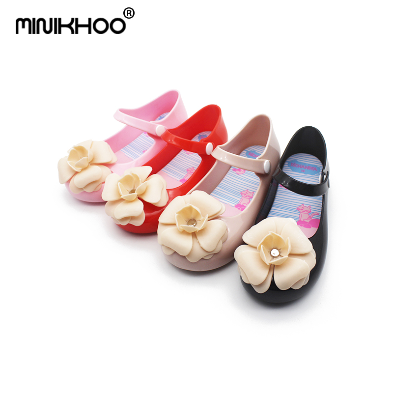 Mini Melissa 2018 New Girls Sandals Girls Shoes Camellia Sandals Beach Shoes Children Jelly Flowers Shoes Anti-Skid Shoes