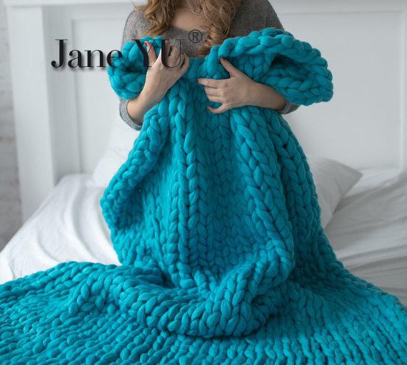JaneYU 200x200cm Wool Blanket Hand Knitted Blanket Sofa Air Conditioning Blanket Rug BlanketJaneYU 200x200cm Wool Blanket Hand Knitted Blanket Sofa Air Conditioning Blanket Rug Blanket