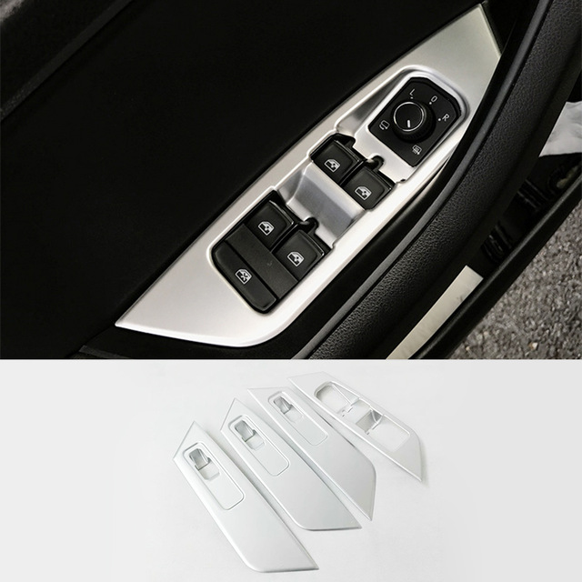 ABS Matte For Skoda Kodiaq 2017 2018 Door Window glass Lift Control Switch Panel Cover Trim car styling accessories 4pcs