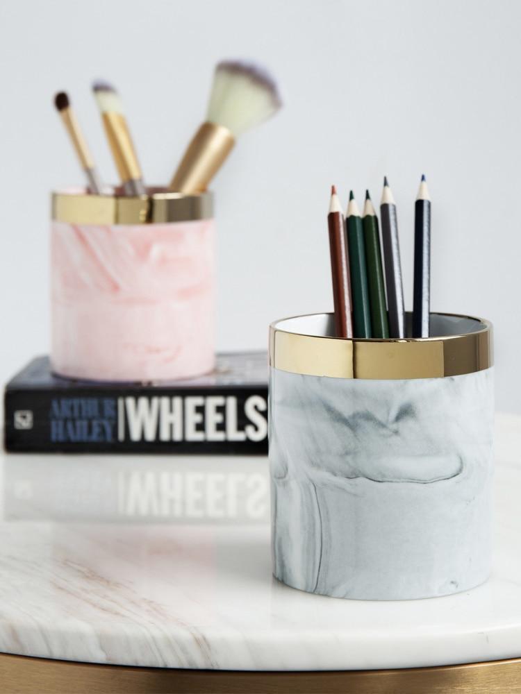 Glod Marble Makeup Brush Storage Holder Stand Dresser Cosmetic Desck Organizer Pen Pencil Ruler Holder Ceramic Tumbler Cup
