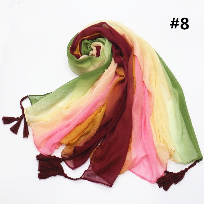 8 colors Fashion Multi color patchwork Scarf Scarves Woman plain solid Gradient Shawl Viscose tassel shawl Muslim hijab echarpe