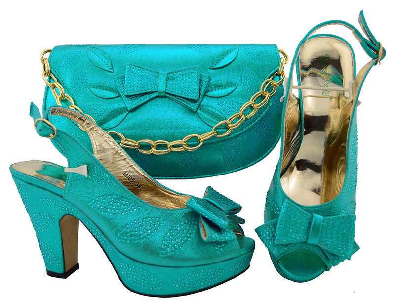 Size 38 to 42 italian design sweet shoes bag to match women blue color for african aso ebi shoes and bag italy design SB8132-6 sweet women s tote bag with metallic and bowknot design