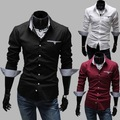 Free Shipping 2015 Brand New style Design Mens Shirts high quality Casual Slim Fit Stylish Dress Shirts 3 Colors 5907