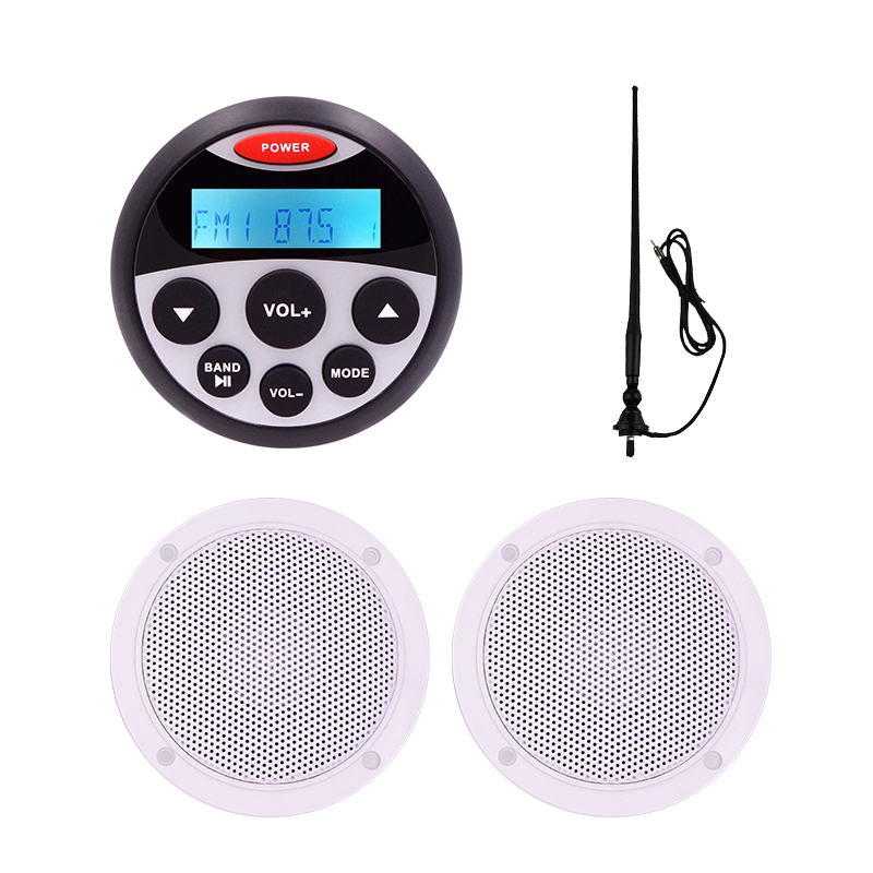 Marine Bluetooth Audio Radio FM AM MP3 Music Stereo Player 5 25 2 Way Waterproof Speakers