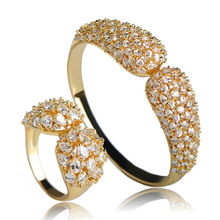 Blucome Exquisite Full AAA+ Zircon Bangle Ring Set Silver Color Women Wedding Charm Bracelet Pulseiras Ring Copper Jewelry Sets blucome brand design rose gold color square cubic zircon ceramic earrings ring set chinese porcelain women wedding jewelry sets
