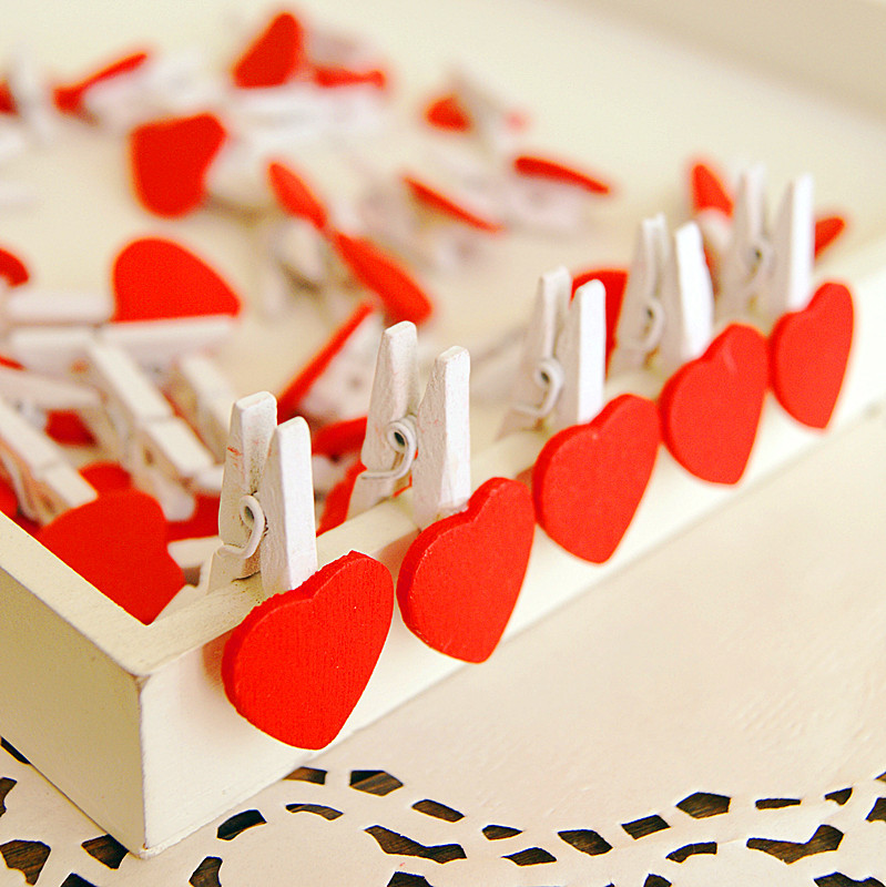 12pcs Wood Clip Red Love Heart Kawaii Cute Spring Clip School & Office Stationery For Album Message Stickers Party Decoration