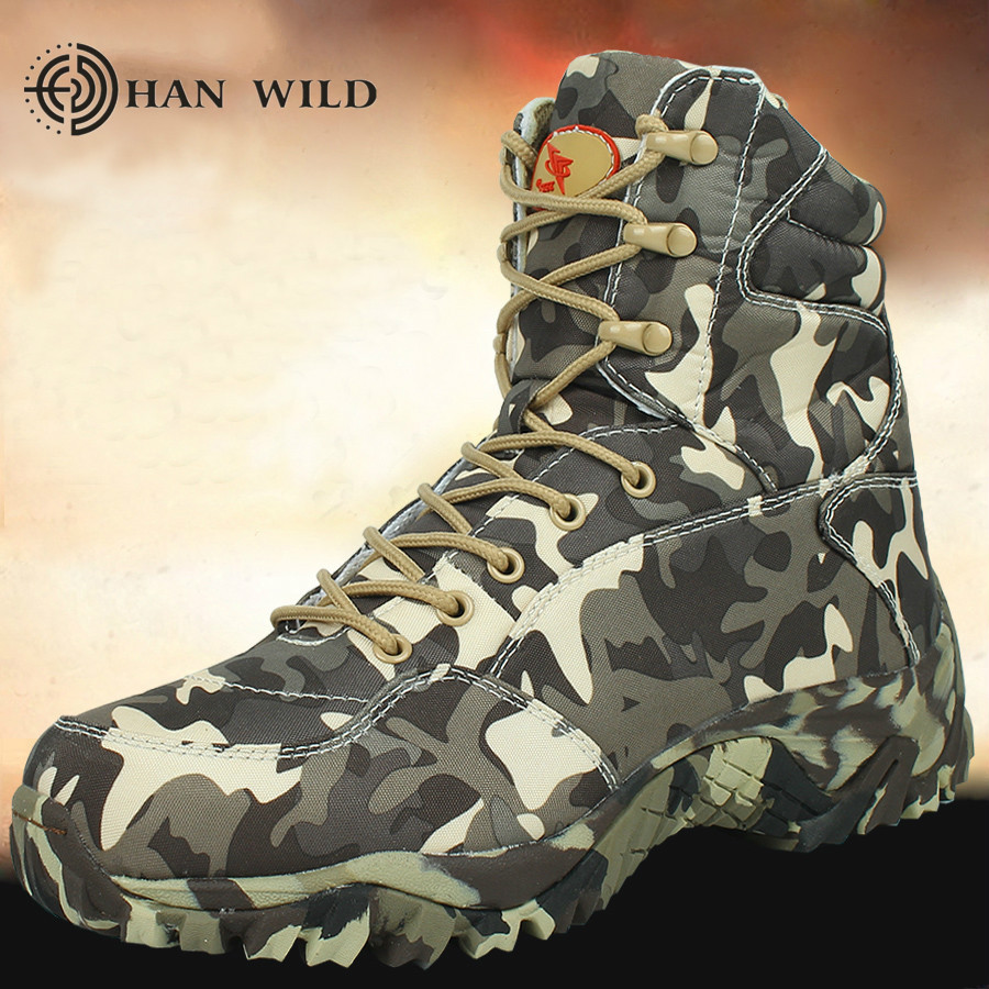 HAN WILD Men Military Army Boot 2018 Spring High Quality Canvas Camouflage Tactical Combat Desert Ankle Boots Mens Shoes