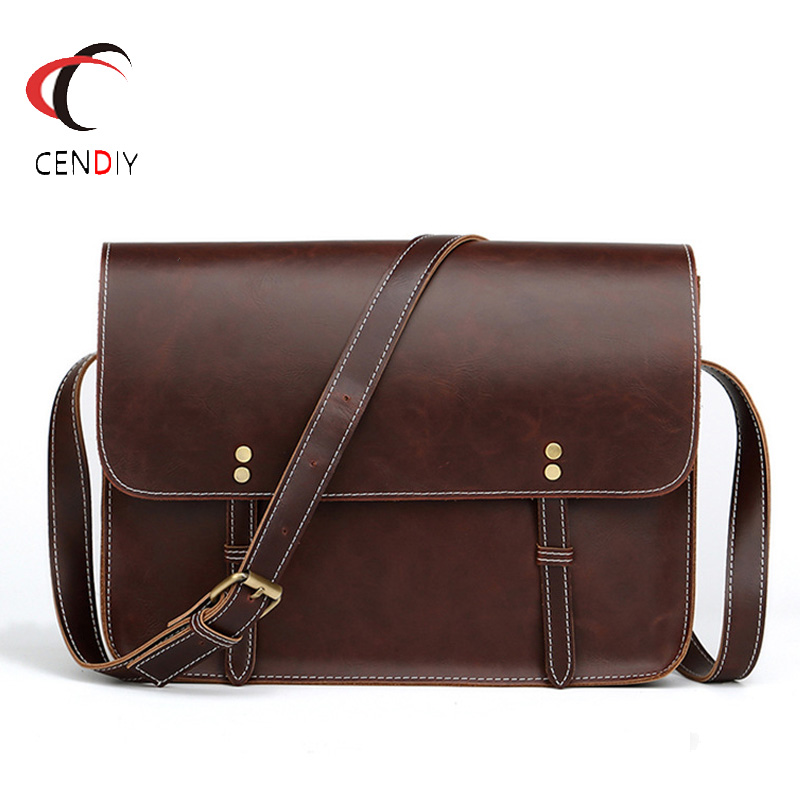 2018 Crazy Horse PU Leather Men Shoulder Bag Briefcase Brand Men's Messenger Bag Male Business Shoulder Bags Laptop Travel Bag