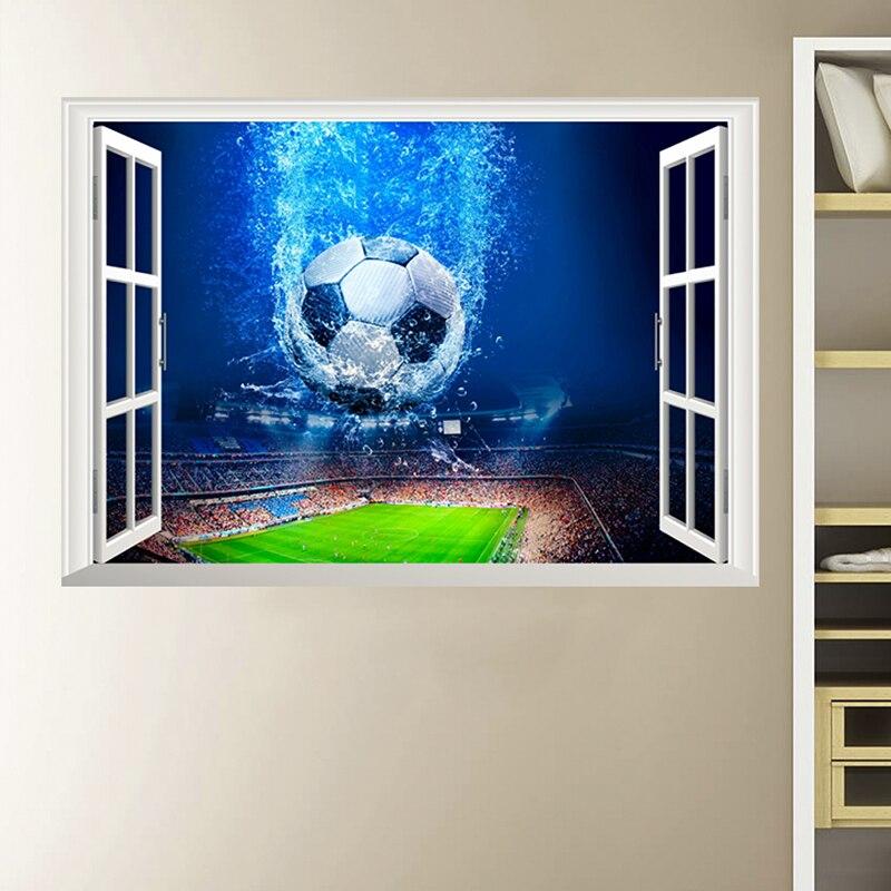 3D Venster Voetbal Voetbal Muurstickers Voor Kinderen Kamers Woonkamer Muurstickers Gym Jongens Kamer PVC Thuis Muurschildering art Decoraties