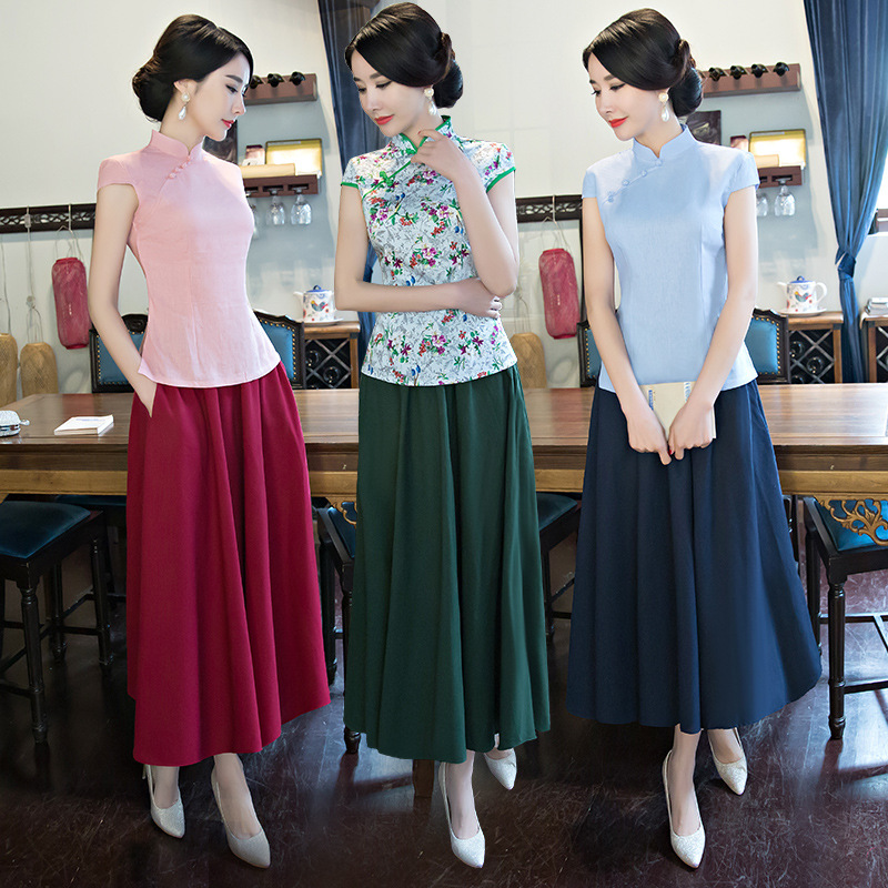 2 pièces hauts + jupe Robe Traditionnelle Chinoise Femmes Ancienne Nationale Cheongsam Femmes Manches Longues Femme Filles Tang Costume Qipao 9