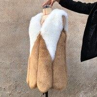 Женское меховое пальто из искусственного меха, модный жилет с панелями, Осень-зима, женская меховая куртка лисица высокого качества, новые п...
