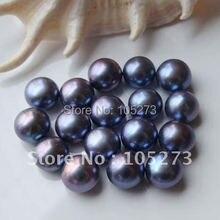 Очаровательная! А. А. 6-12 мм павлин голубой цвет натуральной пресноводный жемчуг кнопку, половина пробурено 10 шт./лот