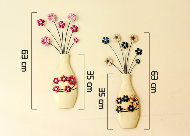 Set of 2 Flower Vase Rustic Wall Mounted Hanging Art Decoration Free ...