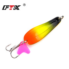 1PC 8Colors Spinner Fishing Lure Metal Hard Baits Spoon 8cm/25g With #1-#1/0 35647-BN Hook Sequin Paillette Wobbler Pesca Tackle
