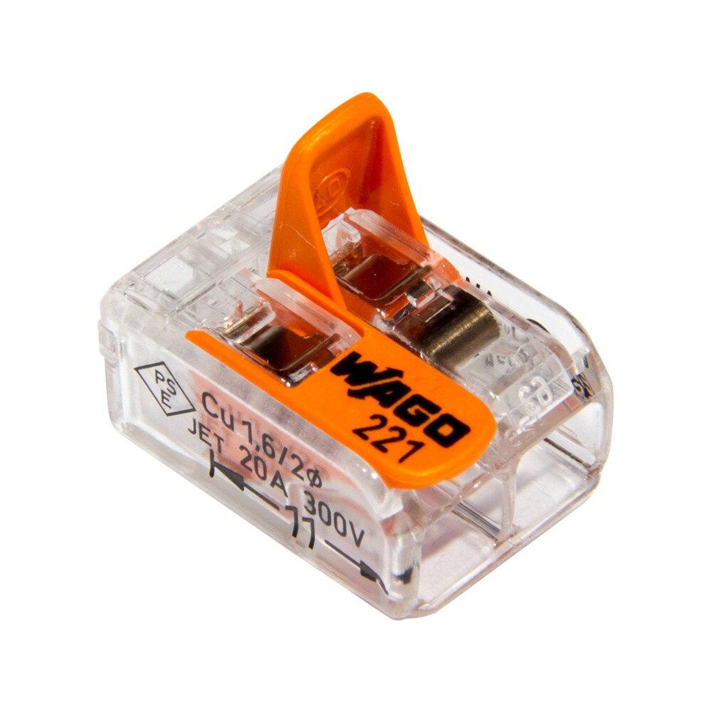 100 pièces WAGO connecteur de câble électrique 2/3/5 voies réutilisables Original WAGO 221-413 bornes de fil transparentes