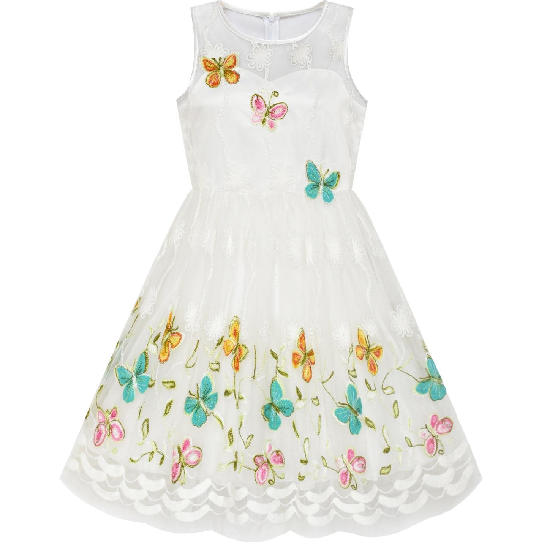 Flower Girl Dress Butterfly Easter Illusion Yoke Party