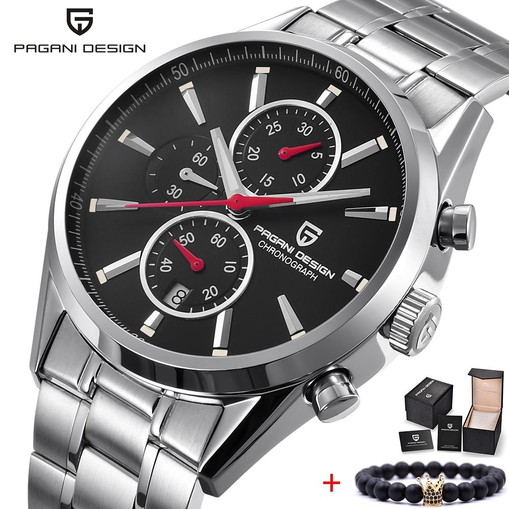 PAGANI DESIGN Men Watch Top Brand Luxury Stainless Steel Leather Sport Military Watch Male Quartz Wrist Watch Men Clock 2018 New