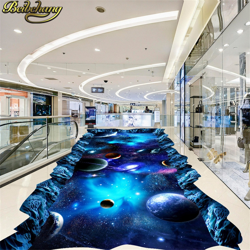 beibehang Cosmic sky Custom Papel De Parede 3D Floor Murals Wallpaper PVC Self-adhesive Waterproof Photo Wall Paper wall sticker