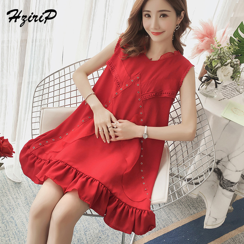 HziriP Summer Maternity Dresses Pregnant Women Solid Sleeveless O-neck Chiffon Dress Casual Loose Pregnancy Clothes Plus Size