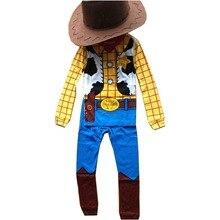 Детский костюм Вуди из истории игрушек на Хэллоуин, костюм ковбоя для ролевых игр для мальчиков, нарядное платье из ткани для косплея с шапкой