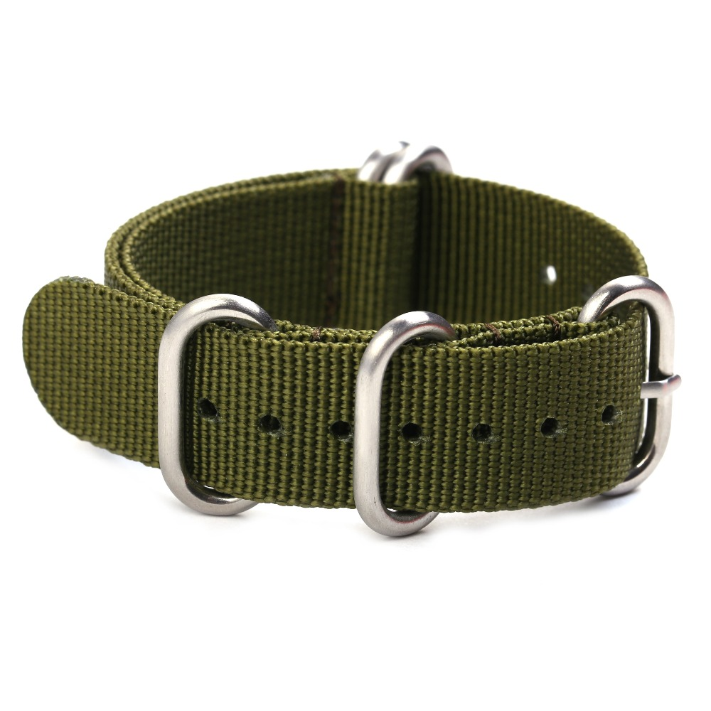 Alta calidad ZULU Nylon Watchband 20mm 22mm 24mm Negro Gris Ejército Verde Plata y Anillos Negros