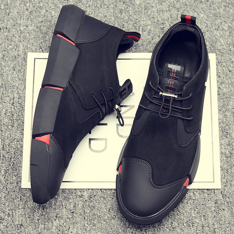 Image 3 - ZYYZYM Shoes Men All Black 2019 Autumn Winter Plush Keep warm Men Casual Shoes Leather Breathable Fashion Men Shoes High Quality-in Men's Casual Shoes from Shoes