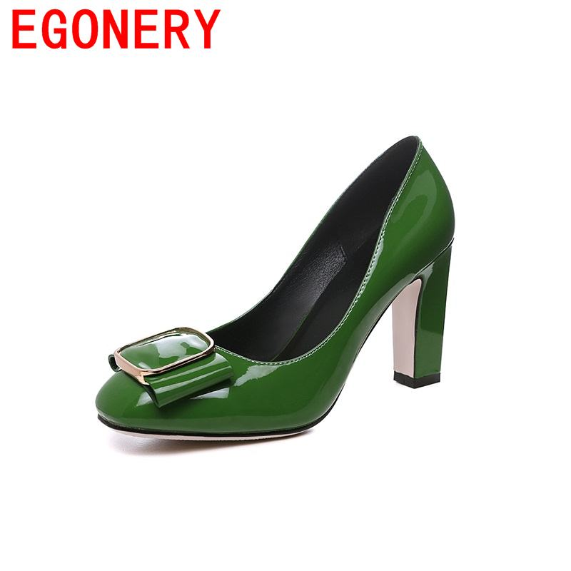 EGONERY chaussures patent leather female extreme high heels plus size fair maiden shoes skid resistance queen style woman pumps