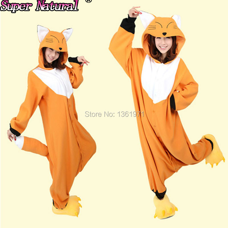 HKSNG Good Quality Yellow Orange Fox Pajamas Animal Winter Women Girls Onesies Adult Kigurumi Cosplay Costume Hoodie  For party