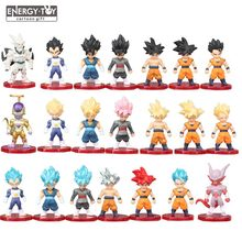 21 pçs/set Dragon Ball Z Son Goku Gogeta Super Saiyan Vegetto Kamehameha Azul Final Frieza modelo boneca figura de ação DO PVC brinquedo(China)