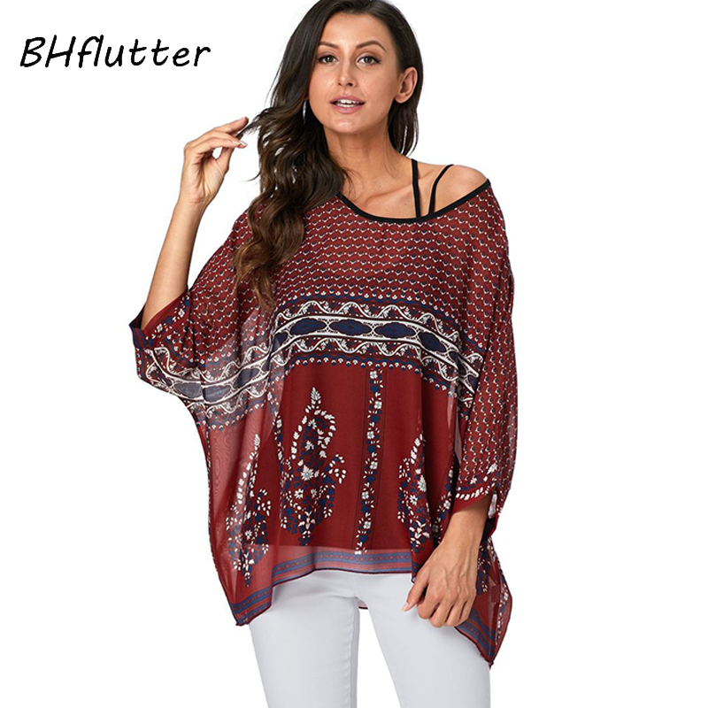 BHflutter Women   Blouses   2019 Batwing Floral Print Chiffon   Blouse     Shirt   Ladies Vintage Summer Tunic Tops Plus Size blusa mujer