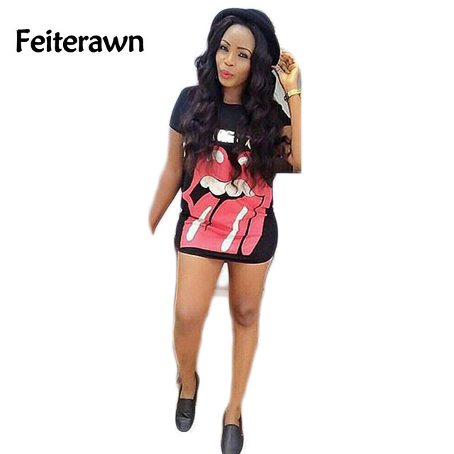 Feiterawn 2017 Summer Women Fashion Short Sleeve Cartoon Print Loose Casual T Shirt OS6132