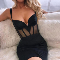 Deer Lady Celebrity Bandage Dresses 2019 Summer Women Black Bandage Party Dress Bodycon Sexy Mesh Dress Clubwear Mini