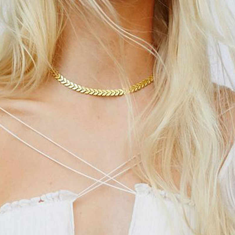 10c12604fa Necklace for Women Tattoos Clavicle Necklaces Stylish Leaves Decorations  Fishbone Simple Bijoux colier Chains and Necklaces