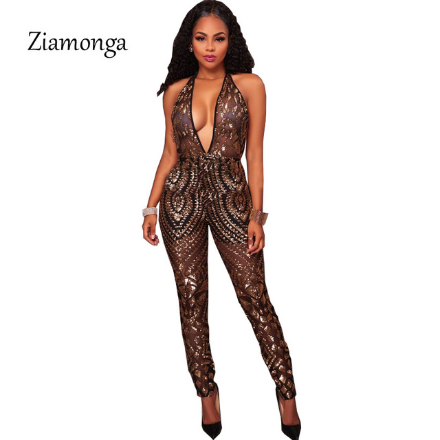 fb876e1a37f Ziamonga Sexy Sheer Mesh Gold Sequin Jumpsuit Sleeveless Halter Glitter  Rompers Club Party One Piece Jumpsuit Overalls For Women