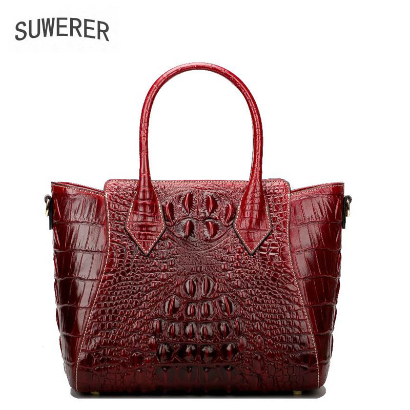 SUWERER Crocodile pattern fashion genuine leather women bags for women luxury handbags women bags designer bags handbags women цена 2017
