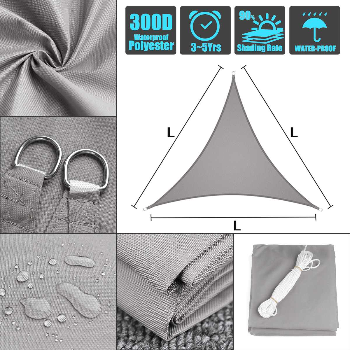 Waterproof polyester fabric - oxford equilateral triangle grey 3x3x3 4x4x4 5x5x5 shade sailWaterproof polyester fabric - oxford equilateral triangle grey 3x3x3 4x4x4 5x5x5 shade sail