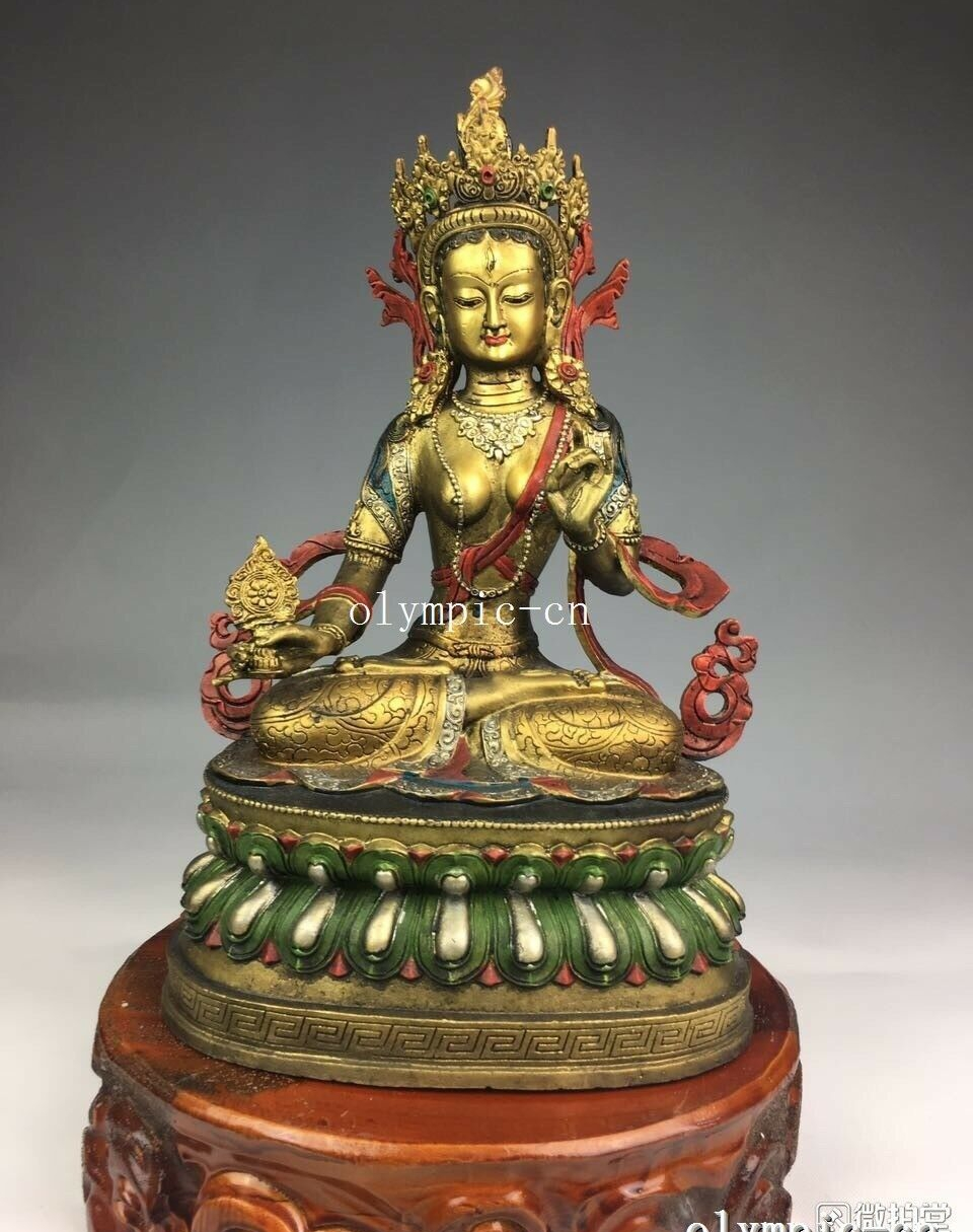 14'' bronze copper gild gold carved Painting tibet buddhism Tara buddha statue|Statues & Sculptures|Home & Garden - title=