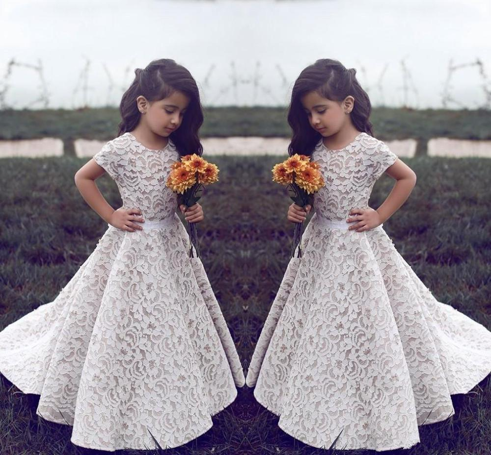 Vintage 2019   Flower     Girl     Dresses   For Weddings A-line Cap Sleeves Lace Long First Communion   Dresses   For Little   Girls