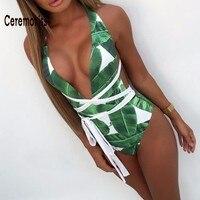 Ceremokiss Sexy Deep V Halter Neck Sleeveless One Piece Set Bikini Swimwear 2017 Summer Beach Bathing